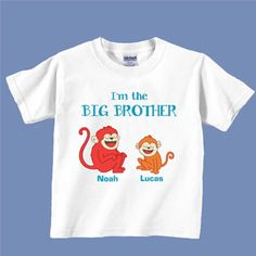 "NEW! Personalized Big Brother T-Shirt - A special gift for an older sibling who can't wait to be a Big Brother! Available in 2T (13""W x 16""L), 3T (14""W x 17""L), 4T (15""W x 18""L), Youth Small (16""W x 21""L), Youth Medium (17""W x 23""L) and Youth Large (18""W x 24-1/2""L). Personalization:2 names, up to 10 characters per name. $19.98 CAD #TShirt #BigSister #NewArrival"