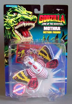 Mothra Action Figure. This 5 inch tall action figure was made in 1994 by Trendmasters. Minor shelf wear to card.