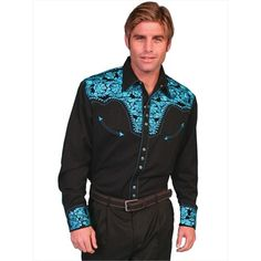 Scully Men's Black Retro Western Shirt with Turquoise Blue Embroidery - Western Shirts - Men's Western Show Shirts, Western Show Clothes, Western Style Shirt, Western Outfits, Western Wear, Cowboy Outfits, Western Dresses, Western Cowboy, Dressing Rooms
