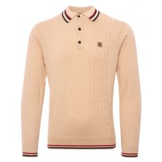 8cea4fdb Gabicci Vintage 1973 Callum Knitted Polo Shirt - Oat