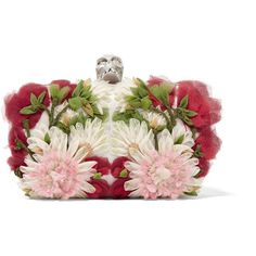 Alexander McQueen Skull floral-appliquéd tulle and satin box clutch ($2,785) ❤ liked on Polyvore featuring bags, handbags, clutches, alexander mcqueen, clutch bags, floral, white, floral print handbags, alexander mcqueen purse and floral handbags