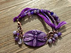 Purple ceramic dragonfly, amethyst purple stones, copper metal and sil – McKee Jewelry Designs