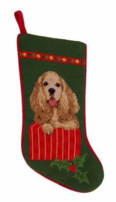 Cocker Spaniel Needlepoint Christmas Stocking