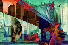 New York Digital Art - Bridges Of New York by Daniel Arrhakis Urban Art, Bridges, Digital Art, New York, Wall Art, City, Creative, Painting, City Art