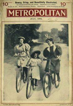 1896 Metropolitan Magazine Cover ~ Women & Child on Antique Bicycles