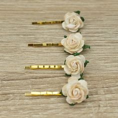 Cream Rose bobby pins, Ivory Rose bobby pins, Golden Bobby Pins, Gold Hair Pins, Blank Hair Pins, Gold Plated Hairpins, Bobby Hair Clip Cream Roses, Gold Hair, Hair Pins, Bobby Pins, Ivory, Hair Accessories, Unique Jewelry, Handmade Gifts, Etsy