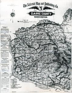 Map of Clark(e) County Vancouver Washington, Clark County, Old Images, Historical Photos, Portland, Maps, City Photo, History, Places