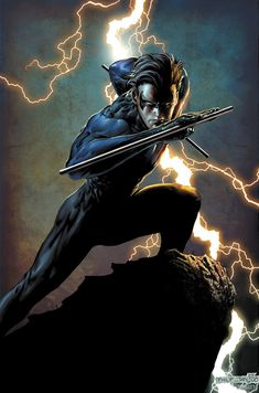 Nightwing from Batman. I love Robin when he turns into nightwing. Marvel Dc Comics, Dc Comics Art, Ms Marvel, Comic Book Characters, Comic Character, Comic Books Art, Character Profile, Nananana Batman, Nightwing And Starfire