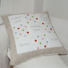 Spotty Memory Cushion by Tuppenny House Designs, the perfect gift for Explore more unique gifts in our curated marketplace. Patchwork Cushion, Embroidered Gifts, Handmade Cushions, Presents For Kids, Baby Memories, Special Birthday, Kid Names, Baby Gifts, New Baby Products