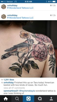 Next flower & bird tattoo - shoulder blade to cap. And by the mercy of God it will be by Alice Carrier or Kristen Holiday