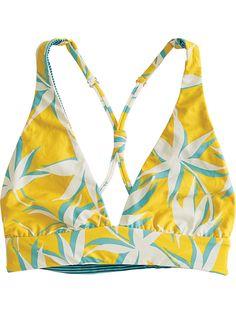 54fbee6d4e71a 2-in-1 Reversible Bikini Top - Julep Stripe Gold Palms Swimsuit Tops