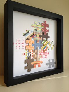 Colorful Puzzle Piece, 3D paper art, that can be personalized, perfect for nursery art OR playroom :-). $35.00, via Etsy.