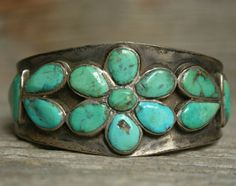 Early Navajo Native American Cluster Turquoise Sterling Silver Cuff Bracelet
