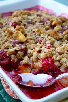 i absolutely love peach and rasberry cobler!!!! such a good combination!