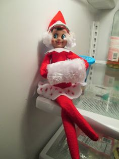 Elf on the Shelf with ear muffs and hand warmer sitting in the freezer....