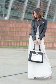 White Maxi Dress   Black Faux Leather Moto Jacket   www.stylemissmolly.com