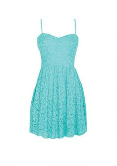 Delicate, lacey, gorgeous! Fully lined, thin strap allover lace skater dress with back zipper.