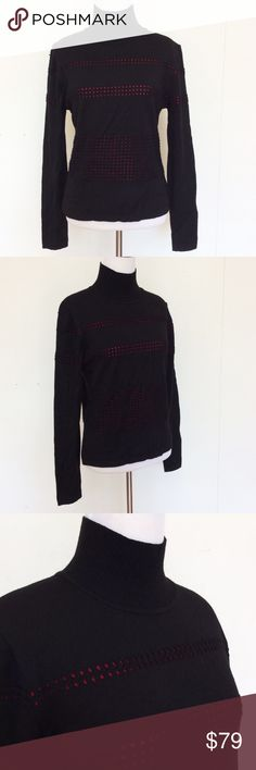 """Vintage Louis Feraud Virgin Wool Dotted Sweater 8 Vintage Louis Feraud Black Virgin Wool Dotted Turtle Neck Sweater Red Shirt US 8  Classy turtle neck sweater with red inset dots under a black sweater knit. Extremely soft and chic.  I believe I bought this from Neiman Marcus. Vintage and barely worn.  Excellent Condition.  Size: US 8Bust (flat): 18""""-22""""Length (from shoulder): 21.5""""Sleeve Length (from armpit): 17.75""""  100% Virgin Wool.  Please check out my Trixy Xchange closet for more…"""