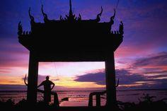 #cambodia Sunrise over the Vietnamese gateway to Phnom Krau near Siem Reap.