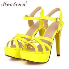Meotina Hot Sale Fashion Summer Women Sandals Summer Heels Gladiator Party Platform Thin High Heels Female Cutout Yellow Shoes