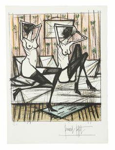 Bernard BUFFET (1928-1999) JEUX DE DAMES Lithographie Sold 1 500€ #artauction