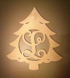 Christmas Tree Single Letter Wooden Monogram Sign