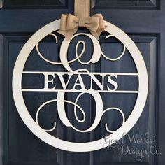 "24"" Wooden Monogram - Unpainted Vine Script Monogram - Family Name - Wedding Monogram - Wreath - Door Hanging - Wall Decor - Wall Monogram by GoodWorksDesignCo on Etsy https://www.etsy.com/listing/236876909/24-wooden-monogram-unpainted-vine-script"