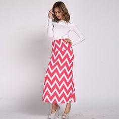 Women's Casual Maxi Plus Sizes Micro-elastic Medium Maxi Skirts (Cotton) 2015 – $16.99