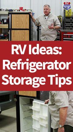 RV Refrigerator Storage Tips Rv Travel, Travel Trailers, Refrigerator Storage, Diy Rv, Rv Parts, Motor Homes, Rv Storage, Rv Tips, Refrigerators