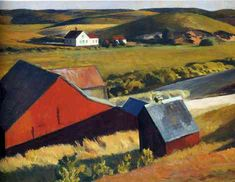 Artwork by Edward Hopper - Cobbs Barns And Distant Houses, (1930)   Painting   Artstack - art online