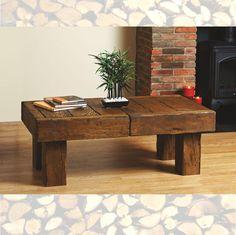 Bespoke Solid Beam Oak Coffee Table - Prime Oak / Warm Antique