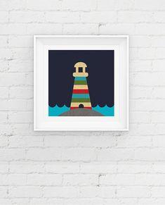 Nautical Lighthouse Nursery Art Print by NorthernSunArtPrints