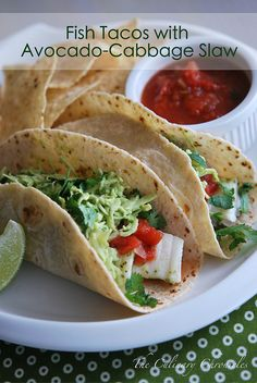Fish Tacos with Avocado-CabbageSlaw