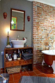 Bathroom Quarry Tiles, Bath Ideas, Beautiful Homes, Vanity, Shower, Bathroom, Bathrooms, House Of Beauty, Dressing Tables