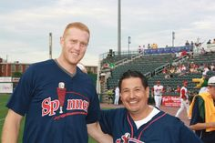 Baltazar and Brian Scalabrine at the Lowell Spinners.