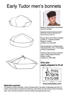 Pattern for Early Tudor Men's Bonnet/Hat by TheTudorTailor on Etsy Medieval Hats, Medieval Clothing, Historical Costume, Historical Clothing, Historical Photos, Die Tudors, Tudor Tailor, Mens Garb, Tudor Dress