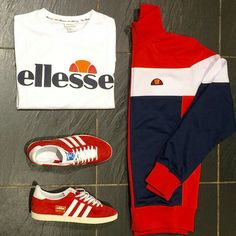 AWAY DAYS - GREAT 80'S CASUALWEAR - ELLESSE WAS ALWAYS TOP GEAR - WITH A PAIR OF RED/WHITE GAZELLES COMPLETING THE OUTFIT