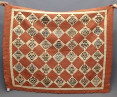 "19th c. ""flaming baskets"" quilt with scalloped border, 74 x 62"", Copake Auction, Live Auctioneers"
