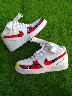 www.cewax.fr aime ces basket de style ethnique afro tendance tribale tissu wax africain sneakers african prints ankara nike blanche et rouge Nothing But the Wax