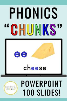 "This is a HUGE set of Phonics PowerPoint slides featuring colorful real world pictures. There are 100 phonics ""hunks and chunks"" to display in the whole group or small group setting. These slides could even be turned into centers using iPads or chromebooks! Color-coded for easy reference and retention #phonicspowerpoints #hunksandchunks"