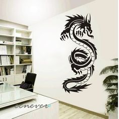 Computer room decor on pinterest imac desk computer for Chinese dragon mural