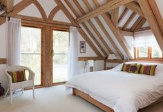 10 Tips to Top Home Value: Adding an Attic Bedroom - A Better Way Attic Bedroom Designs, Attic Rooms, Oak Framed Extensions, Barn Bedrooms, Oak Framed Buildings, Oak Frame House, Dormer Windows, D House, Loft