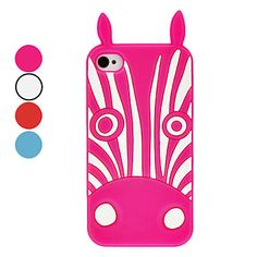Zebra Patroon Silica Gel Soft Case met konijn oor voor iPhone 4/4S (verschillende kleuren) – EUR € 6.98
