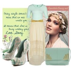 Cream dip hem maxi skirt, mint half sleeve shirt, mint lace platform peep toe pumps, mint handbag, braided updo with flower headband