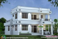 Lakhs cost estimated double storied house (Kerala home design) House Balcony Design, Bungalow House Design, House Front Design, House With Balcony, Modern Small House Design, Simple House Design, Contemporary House Plans, Indian Home Design, Kerala House Design