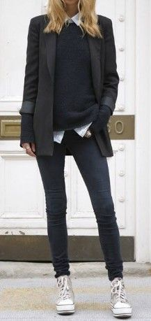 Business Fashion Ladies Business Outfit Woman Athletic Source by Estilo Tomboy, Tomboy Chic, Tomboy Fashion, Look Fashion, Trendy Fashion, Winter Fashion, Womens Fashion, Tomboy Style, Fashion Black