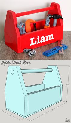Woodworking Projects For Kids How to build a DIY Kids Tool Box - free building plans by Jen Woodhouse - How to build a DIY kids tool box. Free building plans by Jen Woodhouse. Kids Woodworking Projects, Wood Projects For Kids, Woodworking Toys, Popular Woodworking, Project Ideas, Diy Projects, Woodworking Furniture, Furniture Plans, Woodworking Classes
