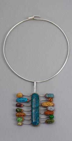 "Necklace | Elsa Freund. ""Abacus"". Silver, ceramic, glass | c. 1955 - 65. The Cooper-Hewitt Museum."