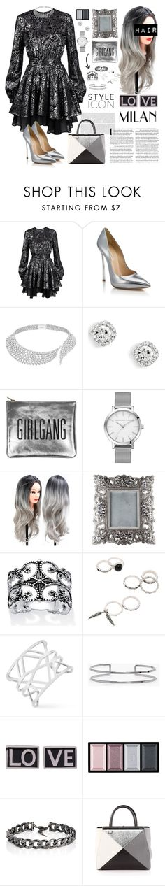 """""""Silver grey"""" by justaslytherin ❤ liked on Polyvore featuring Just Cavalli, Casadei, Messika, Sarah Baily, Palm Beach Jewelry, Vince Camuto, Boohoo, Givenchy, Clé de Peau Beauté and Fallon"""