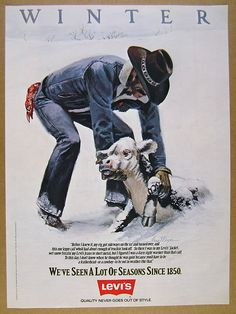 1981 Levi's Jeans Jean Jacket 'Winter' calf in snow art vintage print Ad | eBay
